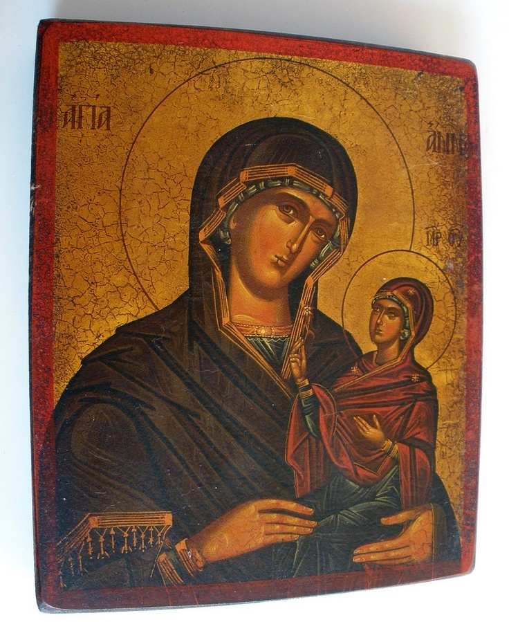 greek icon | Religious Greek Icon Mary & Jesus Wood Plaque by fantan on Etsy