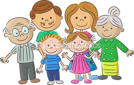 Cuidado de la familia completa de dibujos animados — Ilustración de stock…