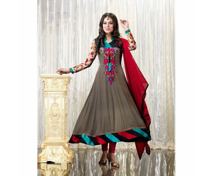 The Wimpy Gray color Anarkali Suit Georgette based with heavy embroidered sleeves .