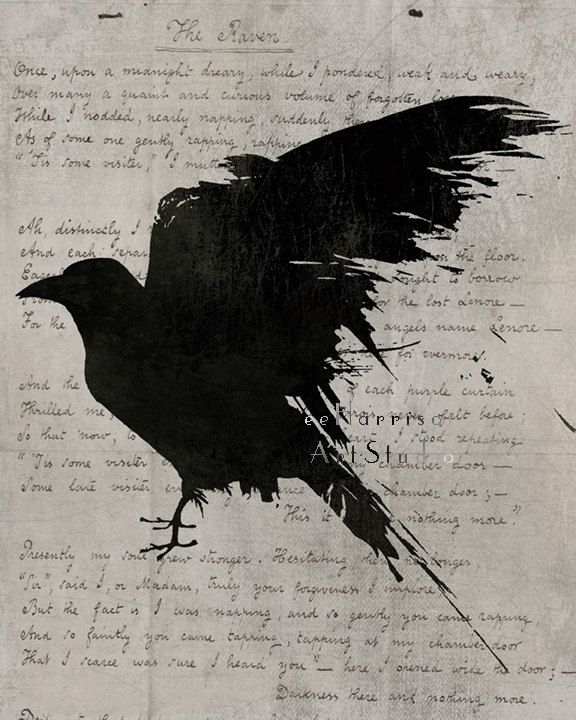 The raven Poem - Nevermore - Gothic art print - Edgar Allan Poe - Black bird art…