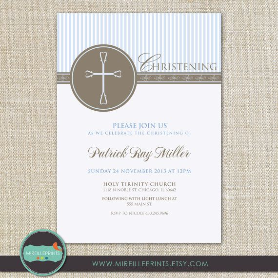 Baptism Invitation/Christening Invitation Card by Mireilleprints, $10.00