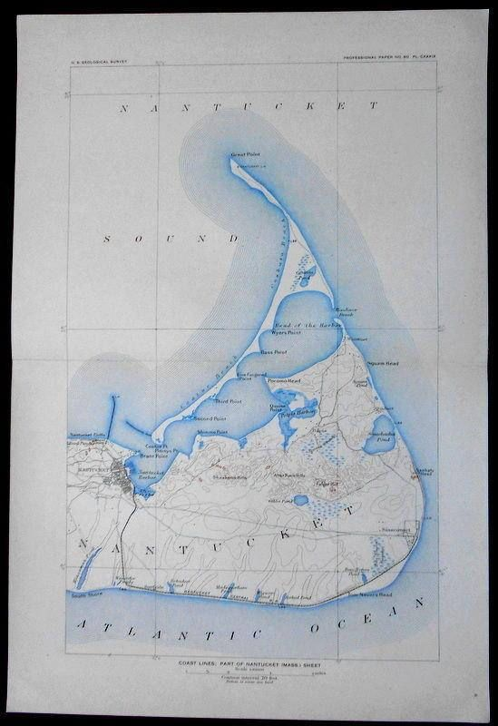 1908 Antique Map Nantucket Island Harbor Sound. Coatue &
