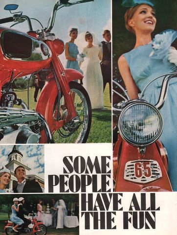 1966 Honda 65 Motorcycle print ad 2 pages Some People by Vividiom, $9.00