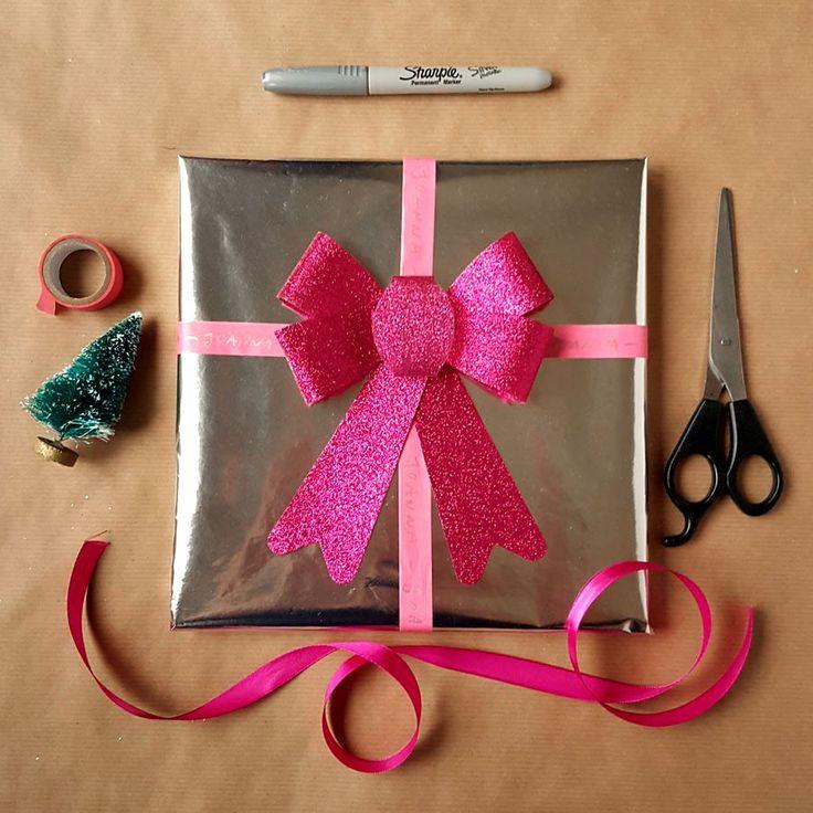 kreatywne pakowanie prezentów [creative gifts wrapping - glitter bow]