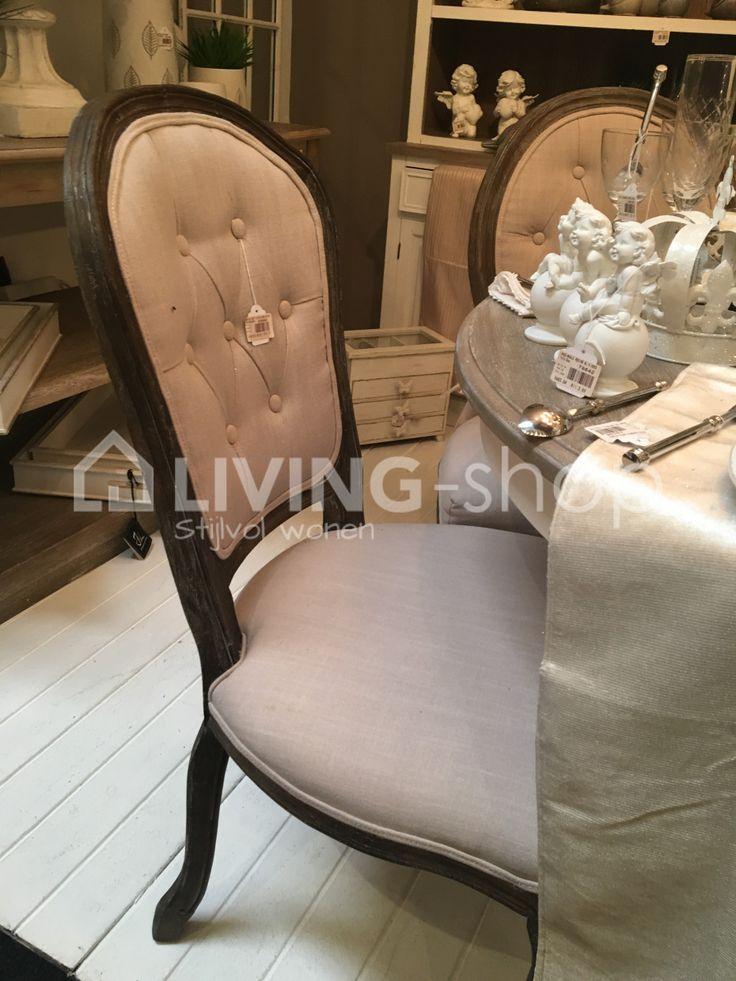 Eiken stoel Louis XV breige met knopen J-line, Frans landelijke stoelen met knopen #livingshop #stoelen #landelijk