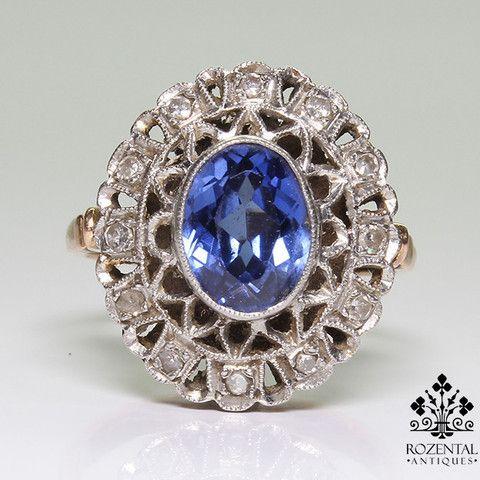Antique Edwardian 18k Gold Diamond & 1.2ct. Sapphire Ring – Rozental Antiques