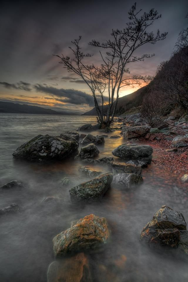Sunset from the banks of Loch Ness, Scotland
