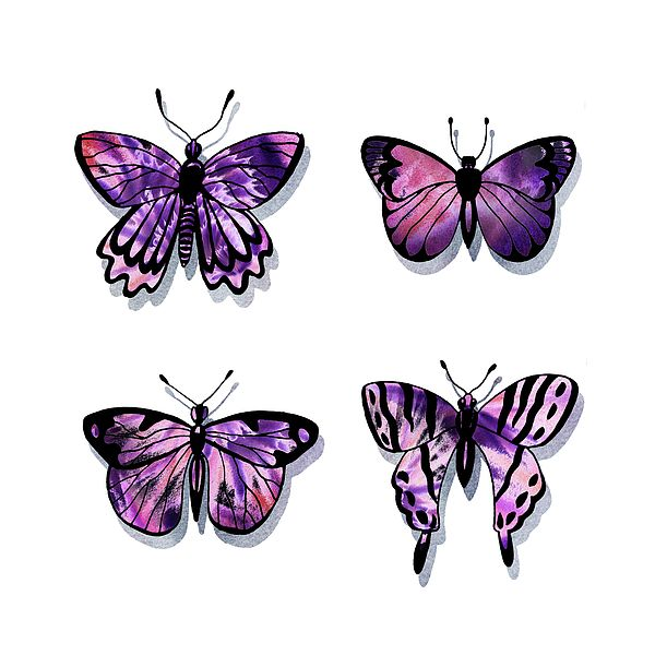 Purple Watercolor Butterflies Collection Iii By Irina Sztukowski