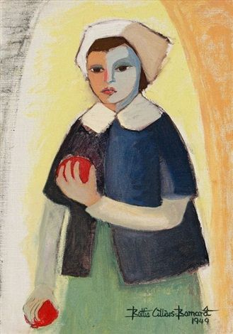 Girl with Pomegranates by Bettie Cilliers-Barnard