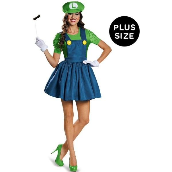 Super Mario: Plus Size Luigi Costume With Skirt For Women (19 KWD) ❤ liked on Polyvore featuring costumes, halloween costumes, princess costume, plus size princess peach costume, womens ninja turtle costume, plus size costumes and womens costumes