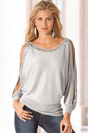 2/1 Sequin open-sleeve sweater