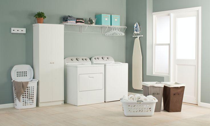 Organiza tu cuarto de lavado con accesorios, gavetas y cajas