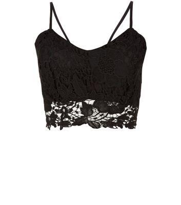 Cameo Rose Black Crochet Crop Top