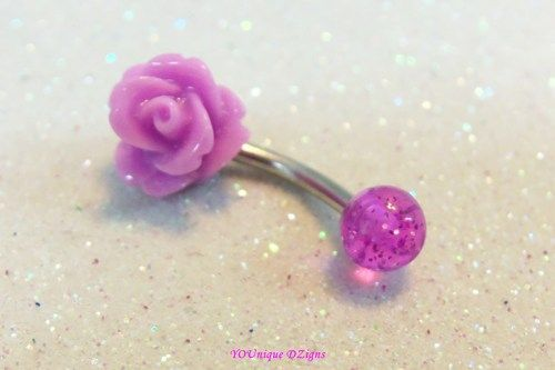 Cute bellybutton ring, tiny 8mm fuchsia pink belly ring 14 ga 12mm bar | YOUniqueDZigns - Jewelry on ArtFire