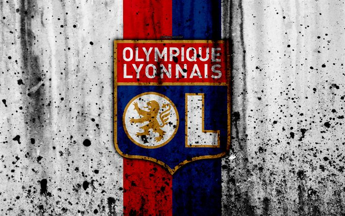 Download wallpapers FC Olympique Lyon, 4k, logo, Ligue 1, stone texture, Olympique Lyon, grunge, soccer, football club, Lyon, metal texture, Liga 1, Olympique Lyon FC