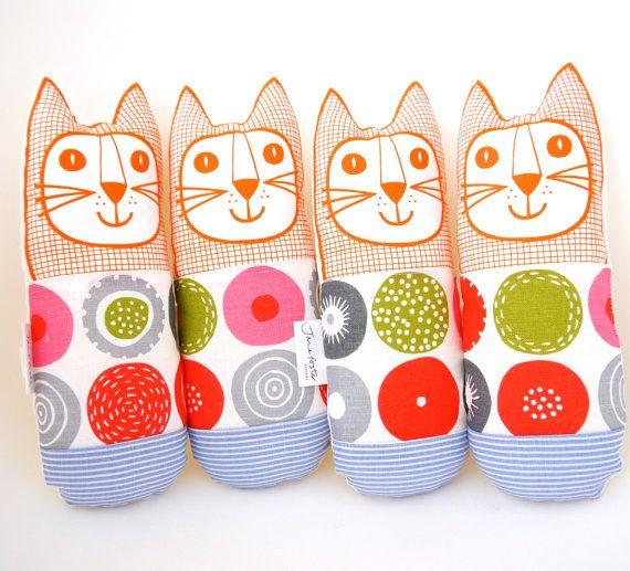 Scandinavian Candy fabric handmade cat toy plush by Janefoster, $27.00