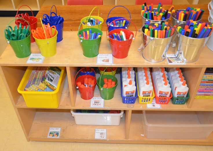 Organizing the classroom. I really like the idea of each table color having their own color supply containers.