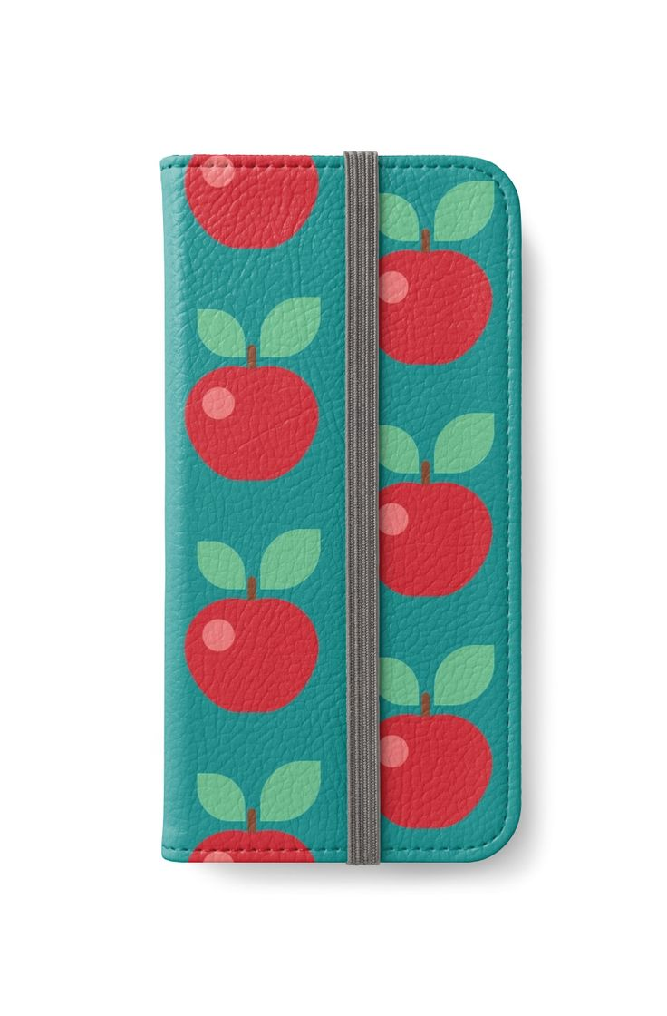 Red Apple Fruit Colorful Kitchen Illustration  by #PrintsProject #iPhoneWallet #appleprint #redbubble