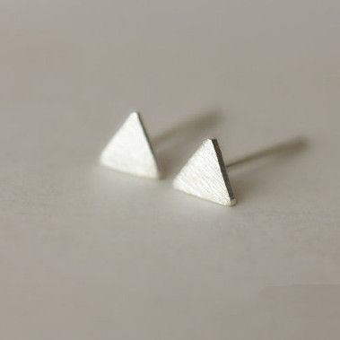 925 Sterling Silver Tiny Small Triangle Simple Cute Matte Hand-made Stud Earring
