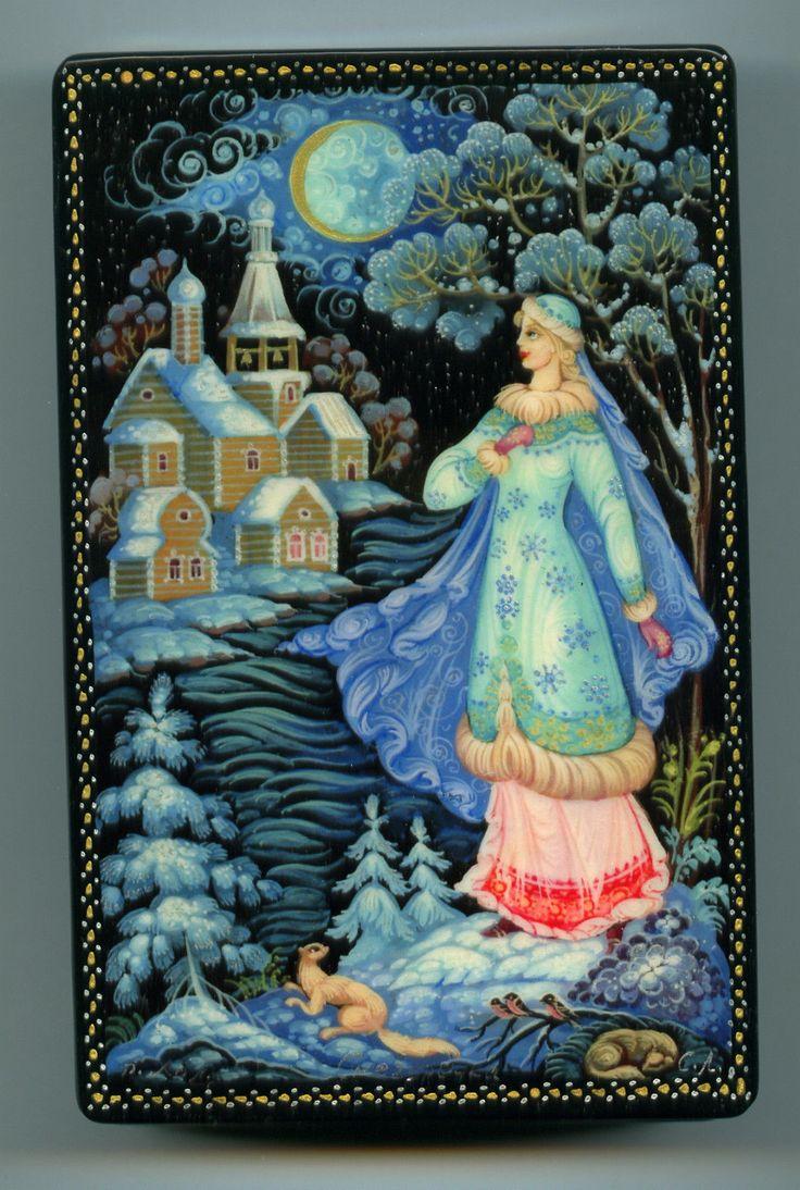 "Russian Lacquer Box Kholui ""Snow Maiden"" Hand Painted   eBay"