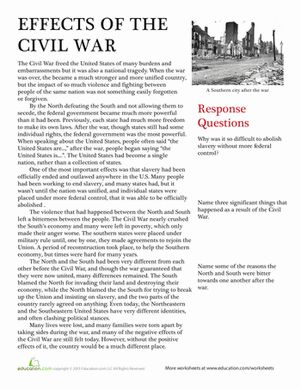 A nonfiction passage and some essay questions help students understand the effects of the Civil War in this American history worksheet. US history. Printables. Worksheets.
