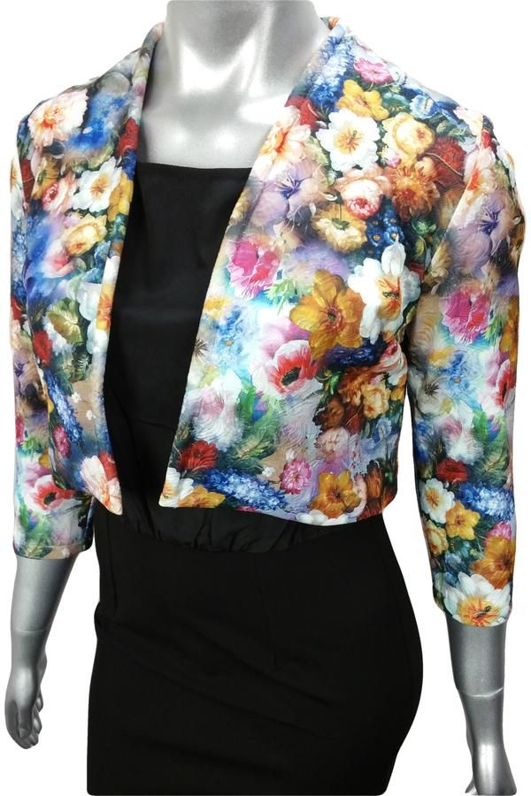 Colourful floral cropped work jacket with quilted texture