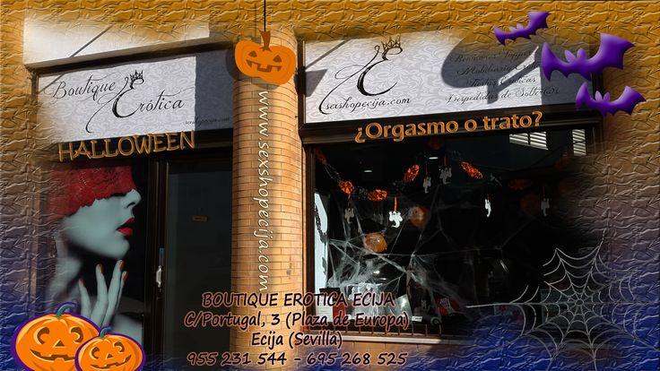 www.sexshopecija.com ¡¡FELIZ HALLOWEEN!! Ven a nuestra tienda hoy Viernes 30 y mañana Sábado 31 de Octubre y benefíciate del 10% de descuento en todos nuestros vibradores. En Boutique Erótica Écija te proponemos ¿Orgasmo o trato?, para que en Halloween te metan de todo, menos... MIEDOOOOOO.