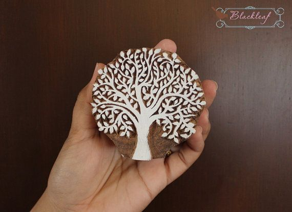 Wood Block Printing Hand Carved Indian Wood by BlackleafArt