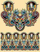 Diseño de moda escote adornado bordado floral de paisley — Ilustración de Stock #55359905