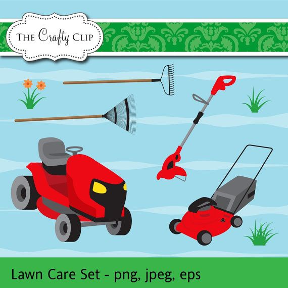 HALF PRICE SALE Lawn Mower Clip Art Set by TheCraftyClip on Etsy, $2.98