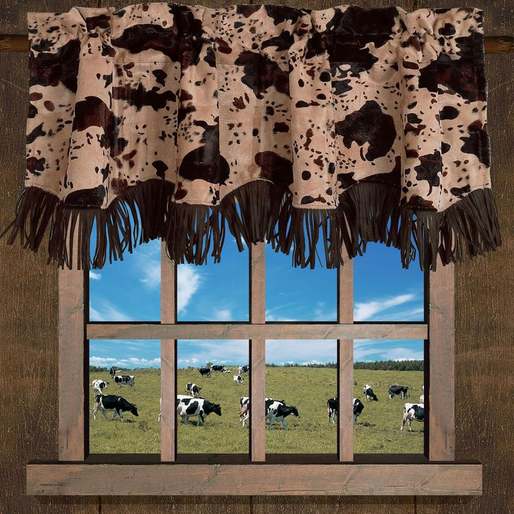 Features:  -Cowhide collection.  -Cowhide print velvet.  -Neutral tones round out cowhide print.  -Faux leather fringe adds luxurious Western detail.  -Dry clean only.  -Please note: Valances are ofte