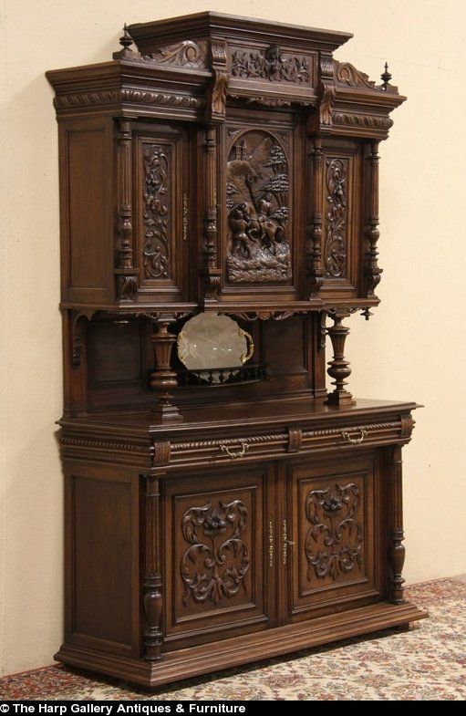 Carved Cabinet with Jousting Knights, France 1890 - Antique