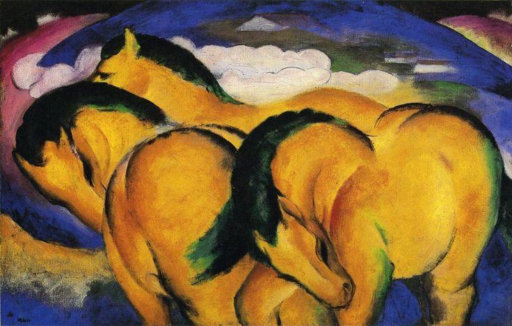 """Little yellow horses (1912), de Franz Marc (66 x 104 cm) Expressionism. Technique: oil. Material: canvas Gallery: Staatsgalerie, Stuttgart, Germany  FRANZ MARC (1880-1916) – Tras Kandinsky, la gran figura del grupo expresionista """"El jinete azul"""" y uno de los más importantes pintores expresionistas. Su muerte prematura acaeció en plena evolución artística, cuando su uso del color anticipaba ya la abstracción"""