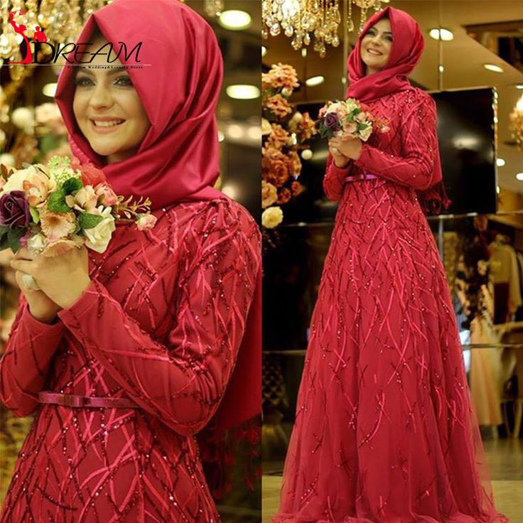 Elegant Long Sleeve Arabic Hijab Muslim Evening Dresses Sparkly Beading Floor Length Tulle Prom Dresses Long Formal Gowns 2016