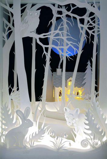 """The Magic Cupboard"" (detail) papercut sculpture by Helen Musselwhite"