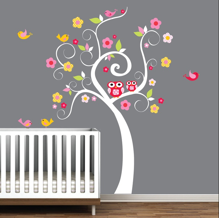 Children Wall Decals Nursery Tree Decal Wall Stickers-Swirl Tree with Owls,Birds. $99.00, via Etsy.
