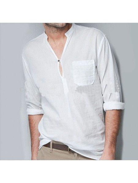 Beach Wedding Linen Shirt - Indian Nehru collar or mandarin collar    Pair it with linen Drawstring pants  Our 100% linen fabric is made from flax yarn that is highly lustrous, absorbent, and...