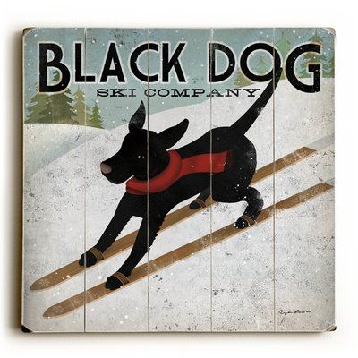 'Black Dog Ski Company' Poster On Wood