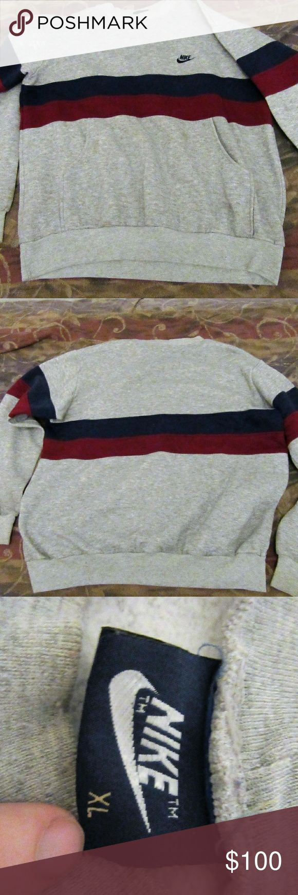 vintage nike blue label color block grey blue red good shape: has some stains spots that could be washed out  vintage nike blue label color block grey blue red sweater pullover XL  pit to pit 24  shoulder to cuff 25  shoulder to shoulder 21  top to bottom 26 Vintage Sweaters
