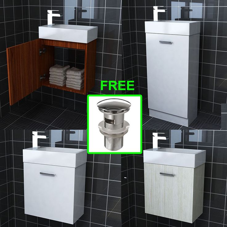 Compact Bathroom Vanity Unit Basin Sink Cloakroom Floor Wall Units With Waste