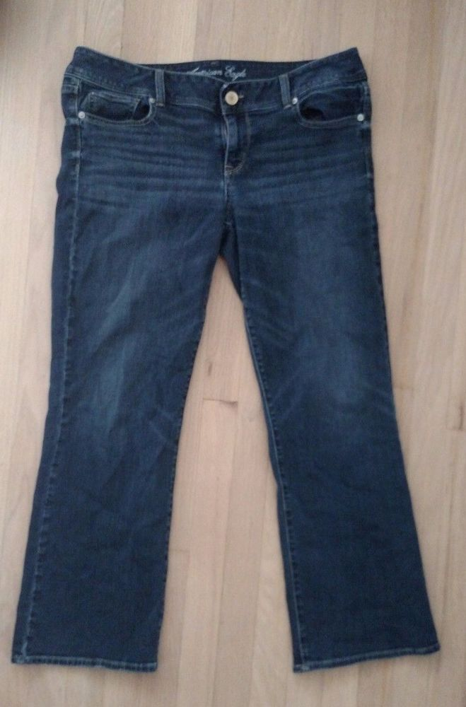 American Eagle Women's Stretch Jeans Size 14 Short Boot Cut Dark Blue Wash Sexy #AmericanEagleOutfitters #BootCut