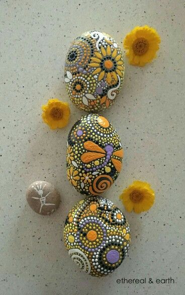 Painted dot and flower rocks