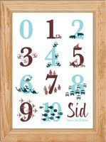 Number Print for Boys This boys's number print is a great gift for your little one and will help them to learn to count and recognise numbers. You can personalise this picture with your child's name and two unique messages.  This helpful number print is designed and illustrated by Creative Sofa Kids Art and printed at the highest quality onto A4, 190gsm, soft textured fine-art paper.    Purchase this number print from just £16.50.