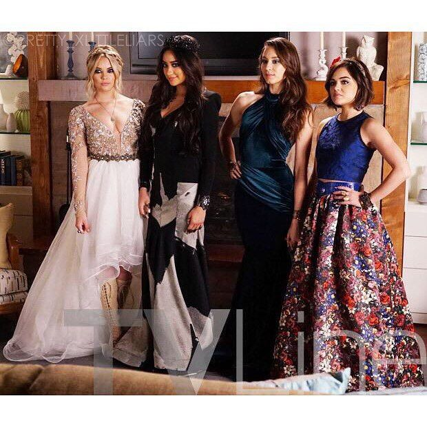 New PLL Promo photo of the girls in their prom dresses! #pll #prettylittleliars…