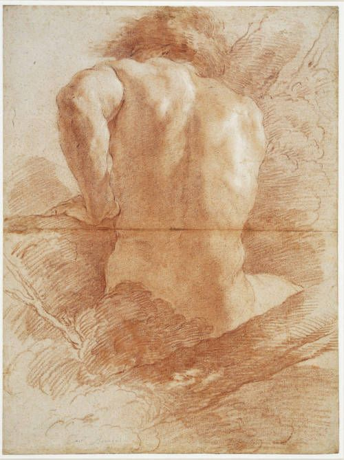 Gian Lorenzo Bernini ~ A male nude from behind, c.1630 (red and white chalks on buff paper)