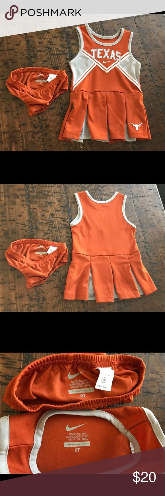 UT Longhorn 2T cheer outfit with matching bloomers EUC worn once for about 30 min Nike Matching Sets