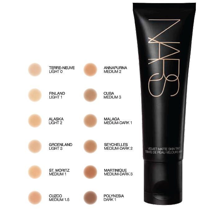 NARS Velvet Matte Skin Tint SPF 30 shade chart  • www.imabeautygeek.com, just tried a sample, it's kind of med. to full coverage with SPF 30, will try my own color and purchase