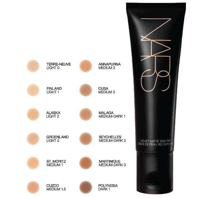 NARS Velvet Matte Skin Tint SPF 30 shade chart  • www.imabeautygeek.com