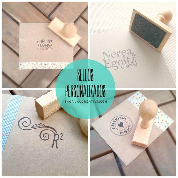 Si quieres personalizar los detalles de tu boda o una fiesta, te hace falta un sello personalizado. Caracteríaticas:Es un sello de goma, con el mango de madera. http://shop.laucreativa.com/product/sello-personalizado