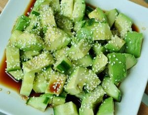 Sesame Cucumber Avocado Salad - my alterations: ribbon the cukes with a mandoline, use braggs instead of soy, don't toast sesame seeds, lemon juice instead of vinegar. raw, vegan, alkaline